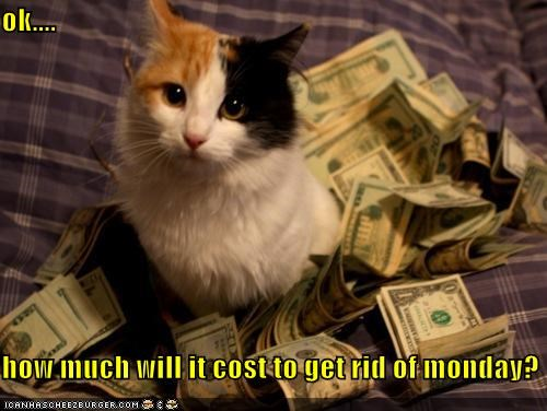 bargaining,caption,captioned,cat,cost,do not want,getting rid,Hall of Fame,how much,monday,money,ok,question