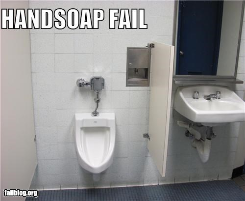 Bathroom Handsoap Fail For creating awkward moments when one person is going for the handsoap while another is using the urinal.