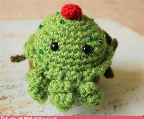 Amigurumi,crochet,cthulhu,cupcake