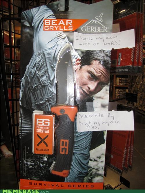 bear grylls,drinks piss,knives