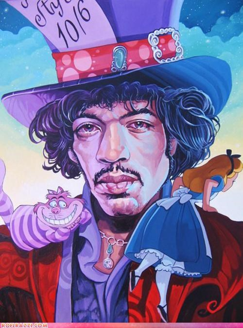 alice in wonderland art cool jimi hendrix Music - 4512030976