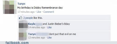 birthday dobby rememberance day Harry Potter justin bieber oh snap - 4512076544