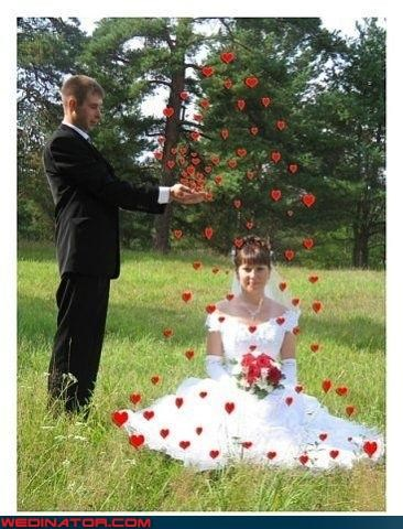 bad photoshop,funny wedding photos,hearts,photoshop