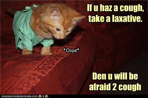 advice,afraid,caption,captioned,cat,costume,cough,dr tinycat,dressed up,kitten,laxative,scrub,scrubs,take,Words Of Wisdom