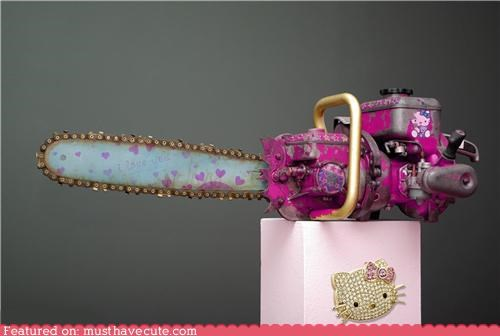 art,chainsaw,hello kitty,pink