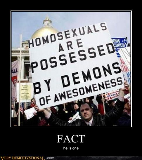 demon homosexuals Protest sign