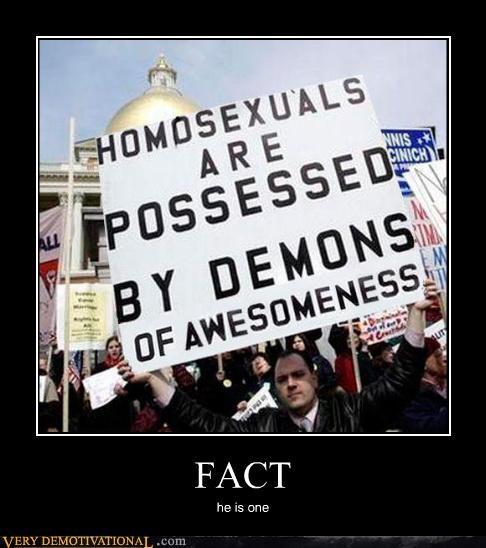 demon homosexuals Protest sign - 4514578432