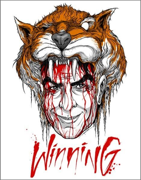 Alex Pardee Charlie Sheen Meltdown duh Ralph Steadman tiger blood winning - 4514907648