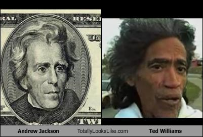 Andrew Jackson,money,presidents,ted williams