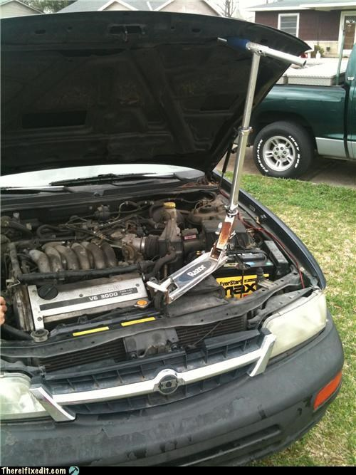 car repair cars dual use engine hood