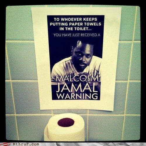 awesome,bathroom,cosby,note,passive aggressive,sign,theo huxtable