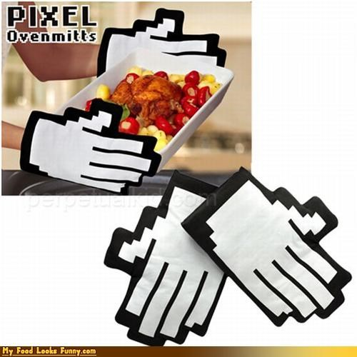 8 bit hands oven mits pixelated - 4515566336