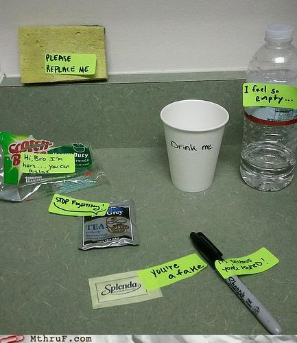 drink,kitchen,note,post it,sharpie,splenda,wasting time