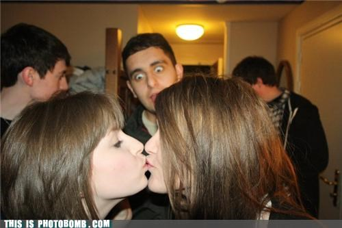 babes creeper kissing Party photobomb stare - 4515968768