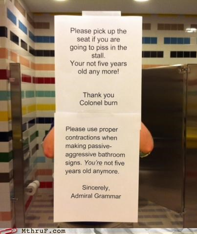 bathroom,grammar,grammar nazi,note,passive aggressive,sign