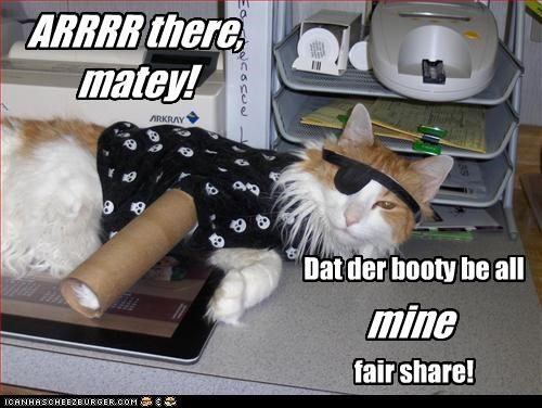 ARRRR there, matey! Dat der booty be all fair share! mine