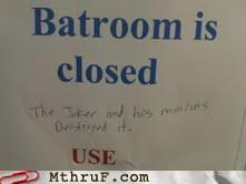 bat cave,bathroom,batman,batroom,funny,sign,spelling