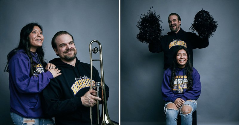 funny girl's tweet goes viral, david harbour poses for yearbook photos with her.