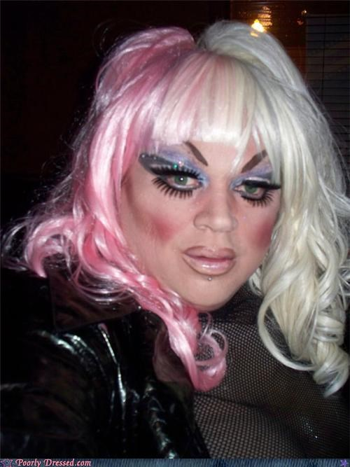 cross dresser,drag,make up,miss piggy,muppets,wig