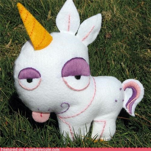 cheeky,felt,hand made,tongue,unicorn