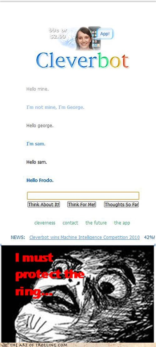 Cleverbot frodo Lord of the Rings Memes mordor raisins - 4518700288