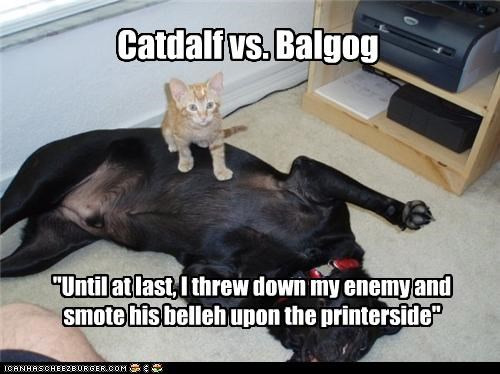 "Catdalf vs. Balgog ""Until at last, I threw down my enemy and smote his belleh upon the printerside"""