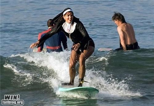extreme nuns religion surfing wtf - 4519045376