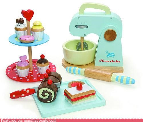 bake food set toys wood