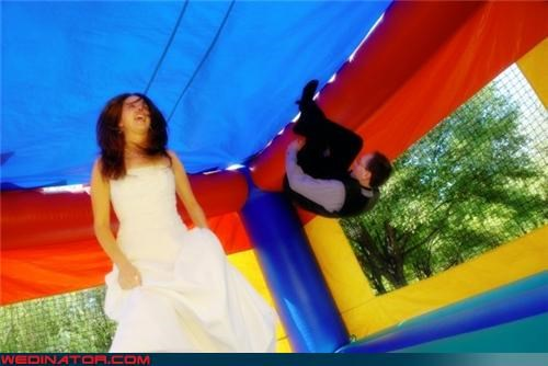 acrobat,bouncy,bride,funny wedding photos,groom,gymnast groom,inflatable,somersault