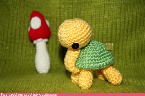 Amigurumi chrocheted green Plush stuffed toy turtle yellow - 4521283584
