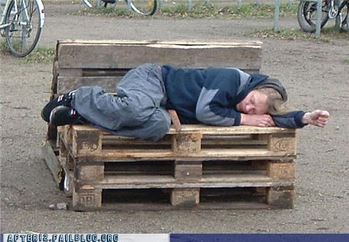drunk,outdoors,pallet,passed out