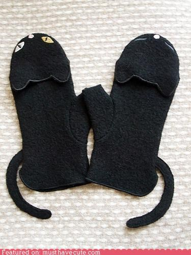 black Cats ears face fleece gloves mittens - 4522035456