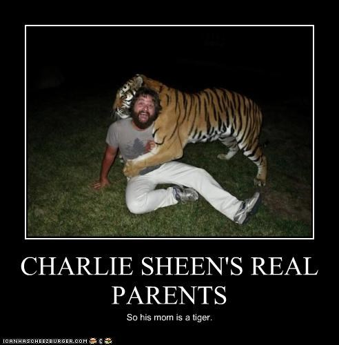 CHARLIE SHEEN'S REAL PARENTS So his mom is a tiger.