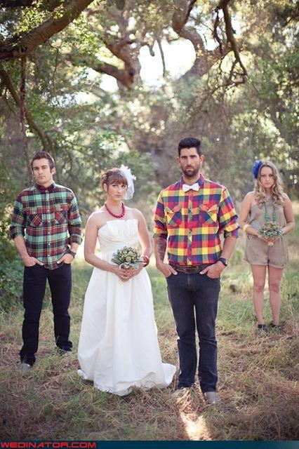 Forest funny wedding photos hipsters photoshop plaid - 4522092288