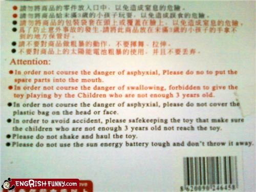 Chinese safety warning