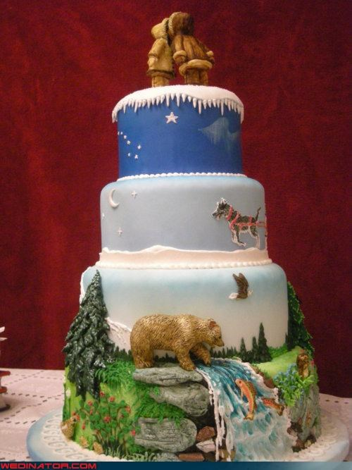 alaska,cake,funny wedding photos,nature cake,wedding