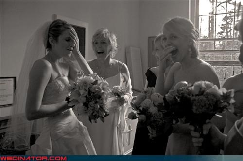 black and white bridal party bride bridesmaids fitting room funny wedding photos