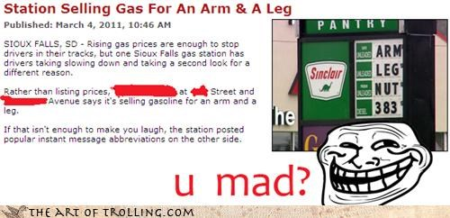 arm and a leg gas IRL news prices sinclair u mad