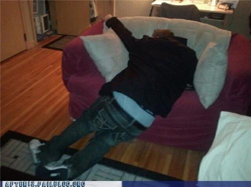 chair,couch,drunk,passed out,underwear