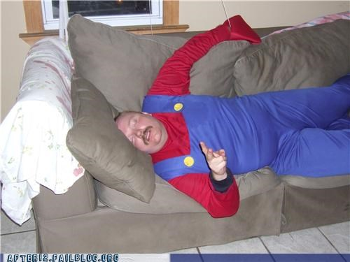 costume,couch,drunk,mario,passed out,peace