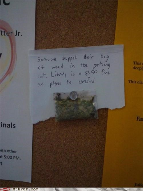 bulletin board,drugs,note,weed
