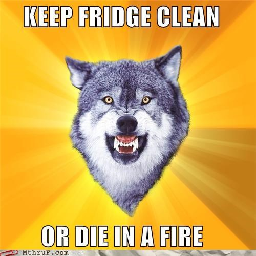 clean,Courage Wolf,die in a fire,fridge,meme,passive aggressive,wolf