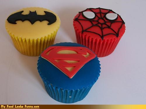 batman,cupcakes,fondant,logos,Spider-Man,superman