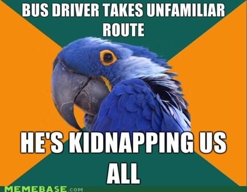 bus driver,new route,Paranoid Parrot