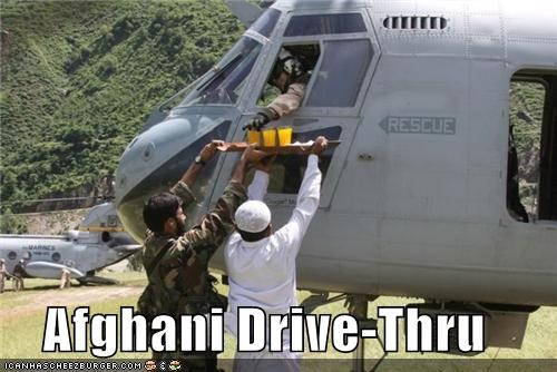 afghanistan,drive thru,fast food,food,helicopter,military