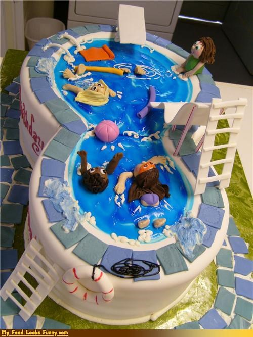 cake fondant icing kids Party pool swim - 4524188160