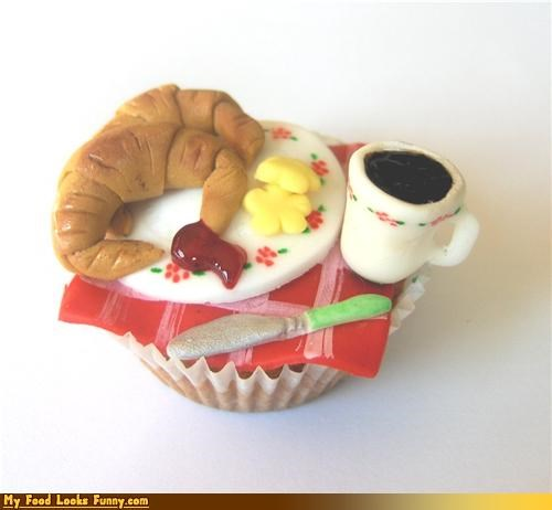 breakfast butter coffee croissant cupcake epicute fondant jam knife miniature plate