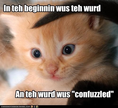"""In teh beginnin wus teh wurd An teh wurd wus """"confuzzled"""""""