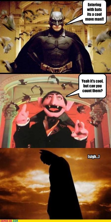 batman,Count von Count,im-the-goddamn-batman,numbers,Sesame Street