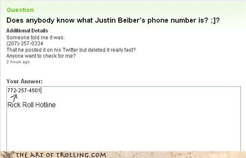 Bieber,phone number,rick roll,Yahoo Answer Fails